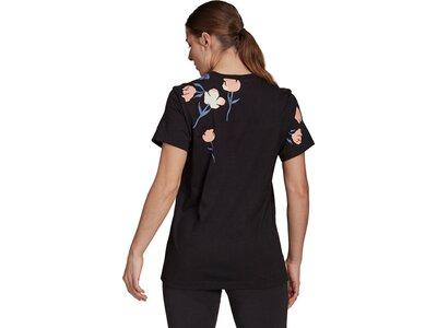 ADIDAS Damen Shirt Damen T-Shirt Floral Boyfriend Schwarz