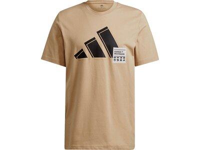 adidas Herren Short Sleeve Graphic T-Shirt Braun