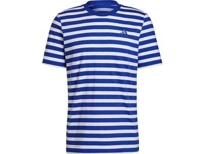 adidas Herren Essentials Stripey Embroidered Logo T-Shirt Blau