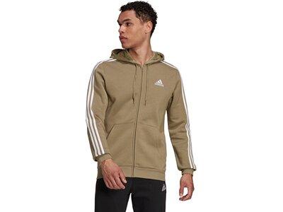 adidas Herren Essentials Fleece 3-Streifen Kapuzenjacke Grau