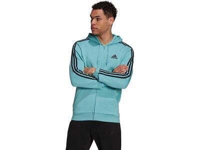 adidas Herren Essentials Fleece 3-Streifen Kapuzenjacke Blau