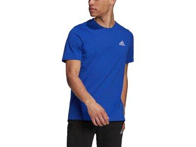 adidas Herren Essentials Embroidered Small Logo T-Shirt Blau