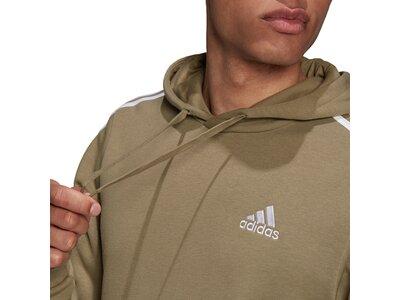 adidas Herren Essentials Fleece 3-Streifen Hoodie Braun