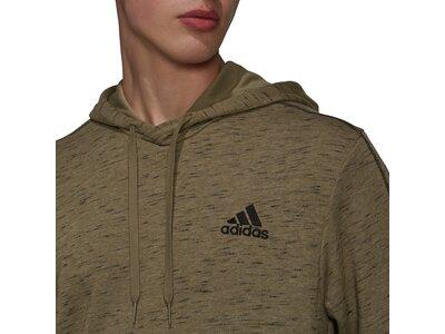 adidas Herren Essentials Mélange Embroidered Small Logo Hoodie Braun