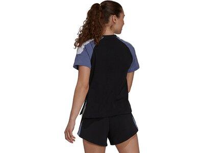 adidas Damen Sportswear Colorblock T-Shirt Schwarz