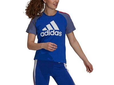 adidas Damen Sportswear Colorblock T-Shirt Blau