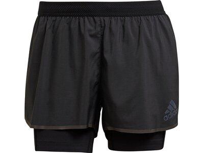 adidas Damen Adizero Two-in-One Shorts Schwarz