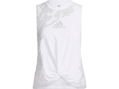 adidas Damen Camo Graphic Knot Tanktop Weiß