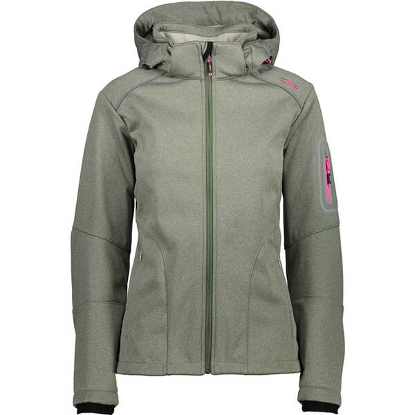 CMP Damen SOFTSHELL JACKET ZIP HOOD | Bekleidung > Jacken > Softshelljacken | Avocado | Polyester - Fleece | CMP