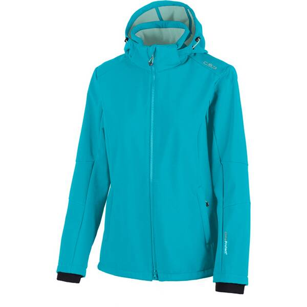 CMP Damen SOFTSHELL JACKET ZIP HOOD Blau