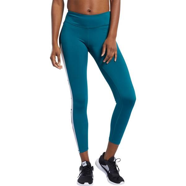 Hosen - REEBOK Damen Tight WOR Logo › Blau  - Onlineshop Intersport