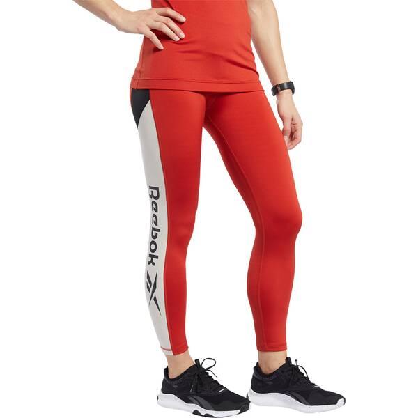 Hosen - REEBOK Damen Tights Workout Ready Logo › Rot  - Onlineshop Intersport