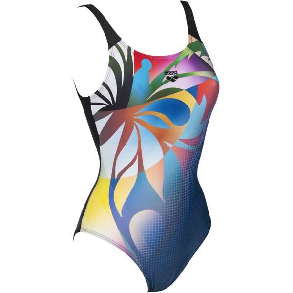 Bademode - ARENA Damen Badeanzug FLOWERS PUZZLE › Blau  - Onlineshop Intersport
