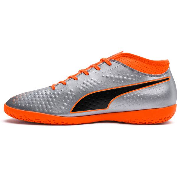 PUMA Herren Fußball-Hallenschuhe ONE 4 Syn IT | Schuhe > Sportschuhe > Hallenschuhe | Silver - Orange | PUMA