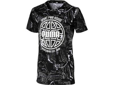 PUMA Kinder T-Shirt Alpha AOP Tee B Schwarz