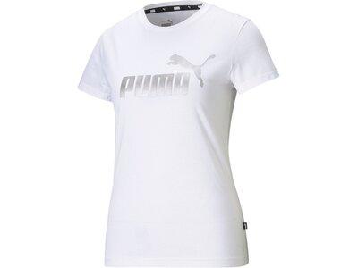 PUMA Damen Shirt ESS Metallic Logo Tee Weiß