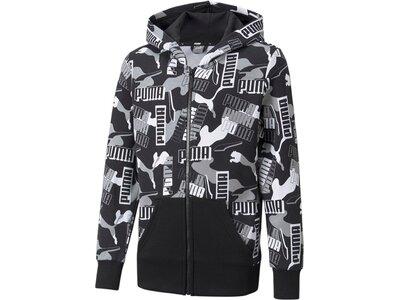 PUMA Kinder Sweatshirt Alpha AOP FullZip FL B Schwarz