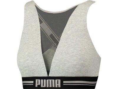 PUMA Damen Unterhemd HIGH NECK BRA WITH MESH 1P Silber