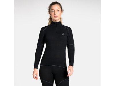 ODLO Damen Unterhemd Shirt l/s turtle neck 1/2 zip Schwarz