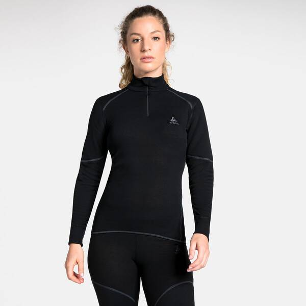 ODLO Damen Unterhemd Shirt l/s turtle neck 1/2 zip, Größe XL in black