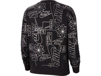 NIKE Damen Sweatshirt W NSW ICN CLSH FLC AOP TOP Schwarz