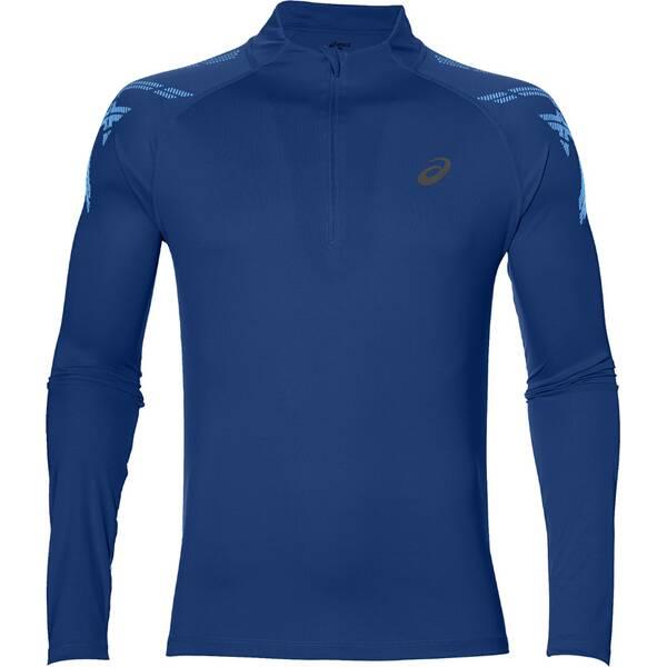 ASICS Herren Laufshirt Stripe 1/2 Zip Langarm, Größe S in Blau
