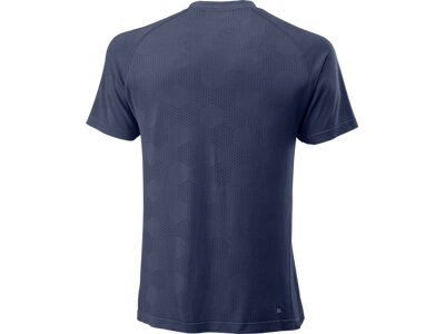 WILSON Herren T-Shirt POWER SEAMLESS HENLEY Blau