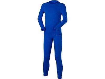 FALKE Kinder Ski- / Funktionsunterwäsche Garnitur Set Longsleeved Shirt + Long Tights Blau