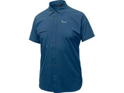 SALEWA Herren Shirt PUEZ MINICHECK DRY M S/S SRT Blau