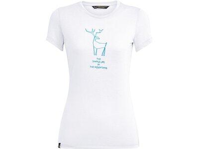 SALEWA Damen Shirt DEER DRI-REL W S/S TEE Weiß