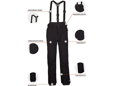 Killtec Softshell Hose mit abnehmbaren Trägern, Kantenschutz und Schneefang Schwarz