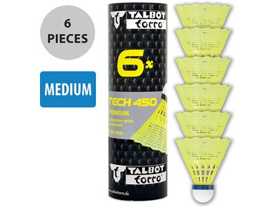 Talbot-Torro Badmintonball Tech 450, Premium Nylonfederball, 6er Dose Gelb