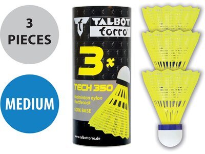 Talbot-Torro Badmintonball Tech 350, Nylonfederball, 3er Dose Gelb