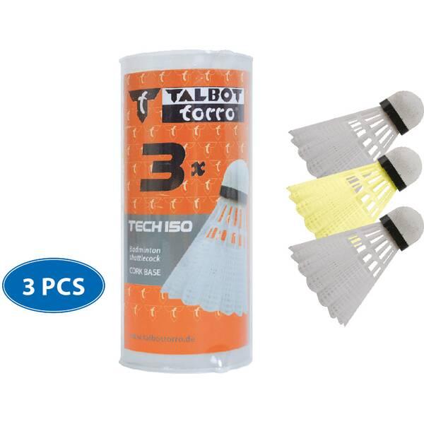 Talbot-Torro Badmintonball Tech 150, Kunststofffederball, 3er Dose