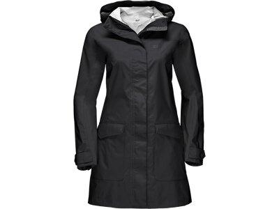 JACK WOLFSKIN Damen Funktionsjacke Crosstown Raincoat Schwarz