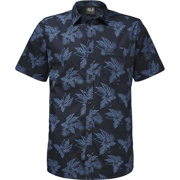 JACK WOLFSKIN Herren Hemd Hot Chili Tropical Shirt Schwarz