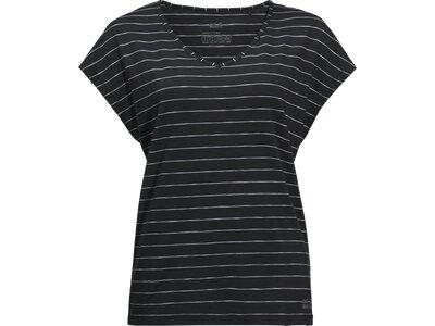 JACK WOLFSKIN Damen T-Shirt TRAVEL STRIPED T W Schwarz
