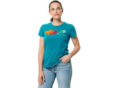 JACK WOLFSKIN Damen Shirt RAINBOW WOLF T W Blau