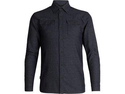 ICEBREAKER Merino Herren Longleeve Lodge LS Flannel Shirt Schwarz