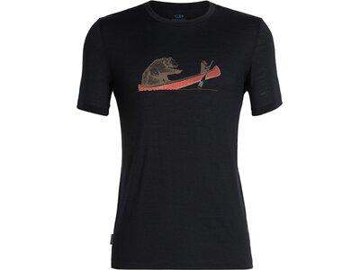 "ICEBREAKER Merino Herren T-Shirt ""Tech Lite Short Sleeve Crewe Canoe Companions"" Schwarz"