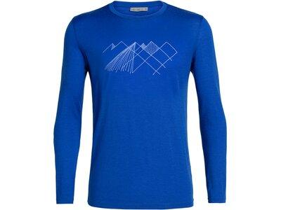 ICEBREAKER Herren Shirt Tech Lite LS Crewe Geo Mountain Blau