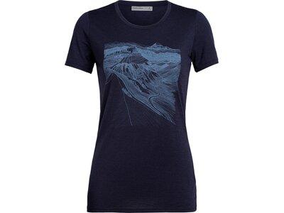 ICEBREAKER Damen Shirt Tech Lite SS Low Crewe PCT Sketchbook Schwarz