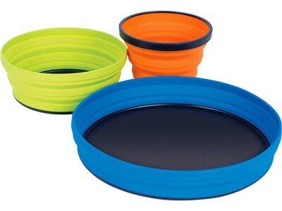 SEA TO SUMMIT Camping Zubehör X-Set: 3-Pce (X-Mug,X Bowl, X Plate & Storage Pouch) Orange / Lime / B Blau