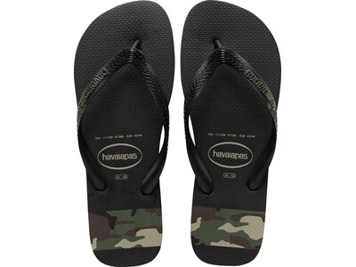 HAVAIANAS Herren Flip Flop TOP STRIPES LOGO BLACK/GREEN Schwarz