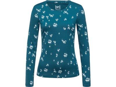 SUPER.NATURAL Damen Shirt BASE CREW NECK 230 PRINTED Blau