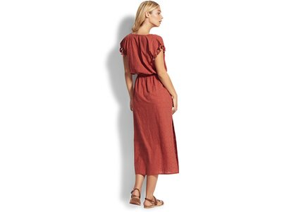 SEAFOLLY Damen Bluse Textured Cotton Maxi Kaftan Braun