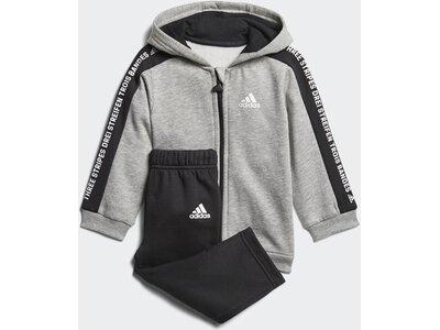 ADIDAS Kinder Linear Hooded Fleece Jogginganzug Grau