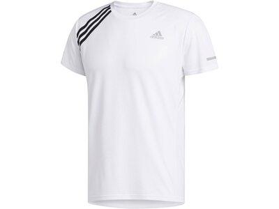 """ADIDAS Herren Laufshirt """"Run It Tee 3 Stripe"""" Weiß"""