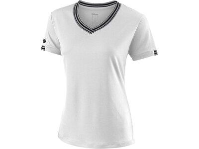 WILSON Damen Tennisshirt Team V-Neck Kurzarm Weiß