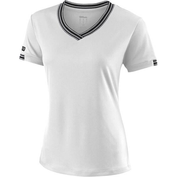 WILSON Damen Tennisshirt Team V-Neck Kurzarm